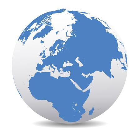 Oriente Medio, Rusia, Europa y África, Mundo Global Ilustración de vector