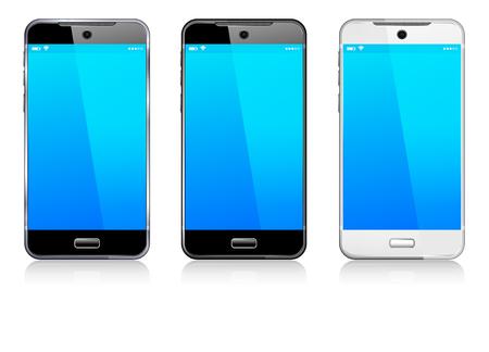 blanco: Teléfono celular móvil elegante negro, blanco y plata Vectores