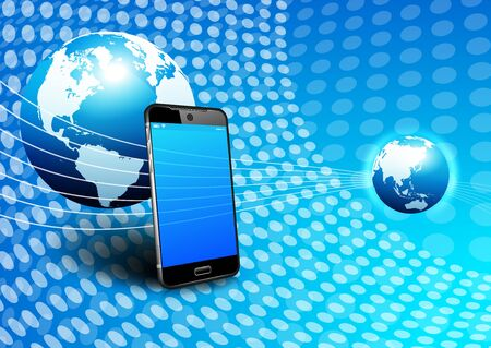 digital world: Phone Global Digital Communication World Background