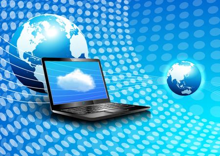 brochure cover design: Laptop Cloud Computing Global Digital Communication World Background