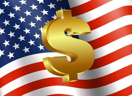 dollaro: Bandiera americana con Dollar Sign - Finanza simbolo Icona Vettoriali