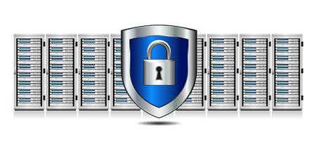 盾を持つサーバーのネットワーク セキュリティ-  イラスト・ベクター素材