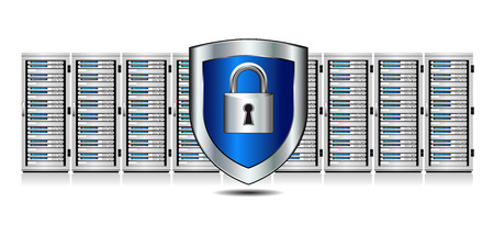 Network Security - Servern mit Shield Protection Illustration