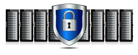 escudo: Escudo Lock Servidores de Protección Vectores