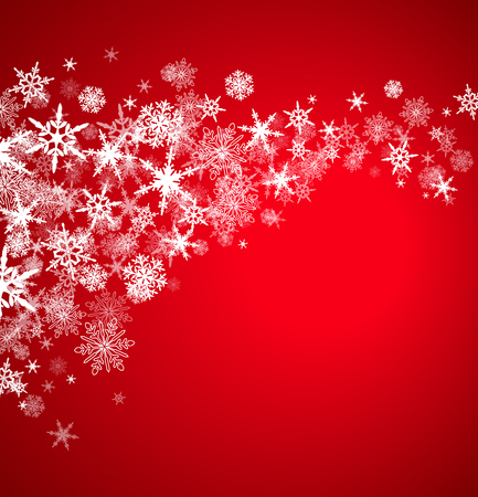 snow falling: Christmas Snowflakes - On a Burgundy Background Illustration