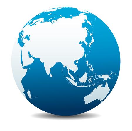 중국, 아시아, 글로벌 세계 일러스트