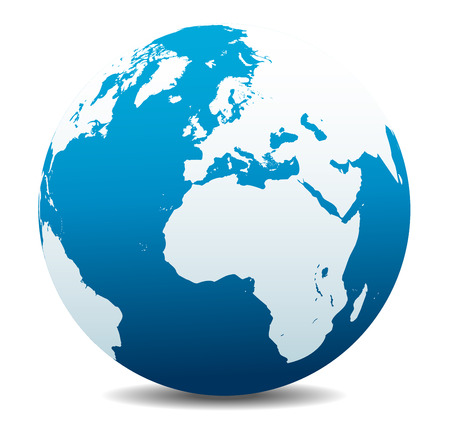 Europe and Africa, Global World Vectores