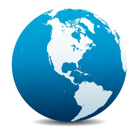 Noord- en Zuid-Amerika Global Wereld