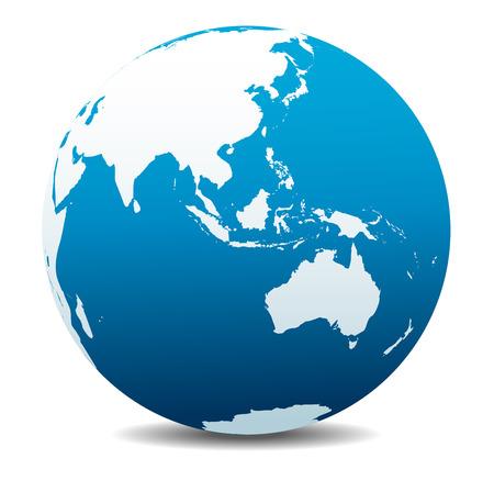 Asia and Australia, Global World  イラスト・ベクター素材