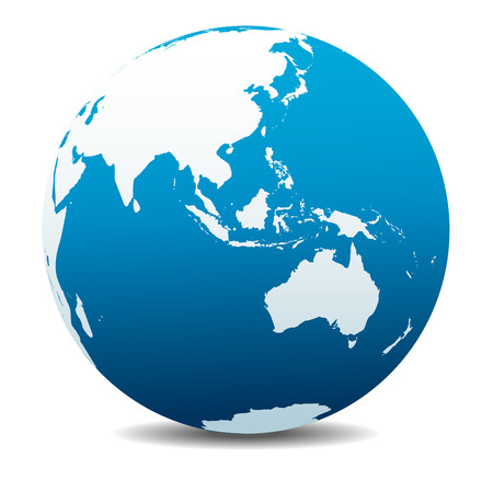 wereldbol: Azië en Australië, Global Wereld Stock Illustratie