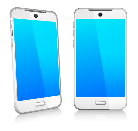 touch screen phone: Silver White Phone Cell Smart Mobile 3D and 2D