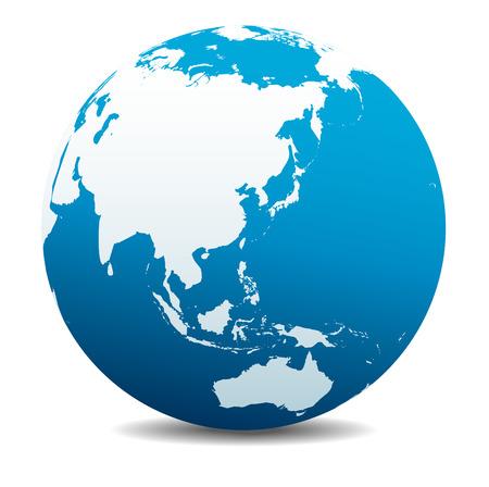zeměkoule: Čína, Japonsko, Malajsie, Thajsko, Indonésie, Global World