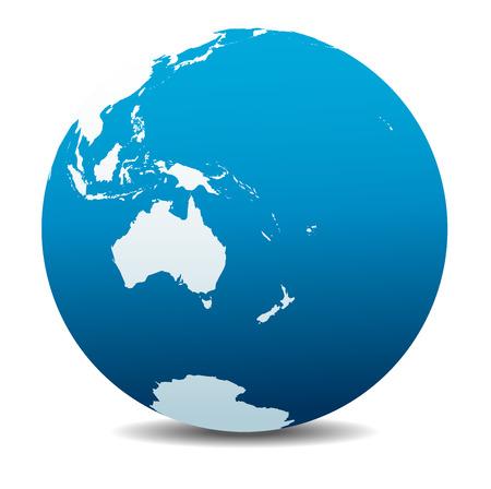 bola del mundo: Australia y Nueva Zelanda, Mundo Global Vectores