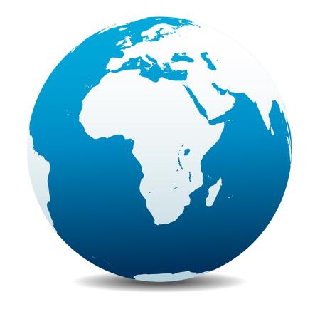 Africa, Arabia Global World Illustration