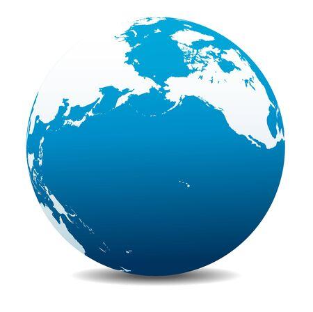 california coast: Pacific Rim North America, Canada, Siberia Russia and Hawaii Global World Illustration