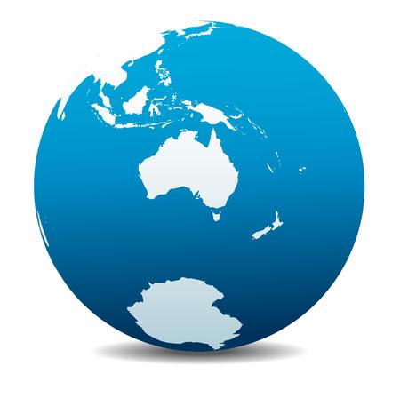 オーストラリアとニュージーランド、南極、南極大陸、世界  イラスト・ベクター素材