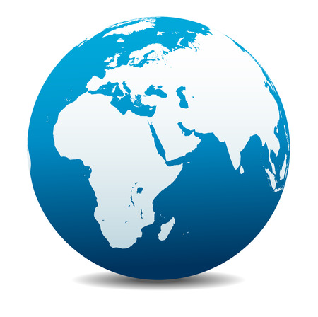 Africa, Middle East, Arabia and India Global World Stock Illustratie