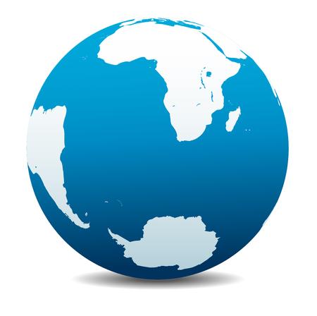 south  america: Sudáfrica, Madagascar, América del Sur y la Antártida, el Polo Sur Vectores
