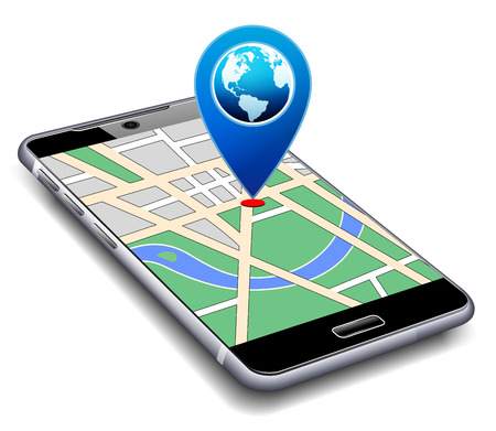 U bent hier - Telefoon met Map Pointer Icon Cell Smart Mobile