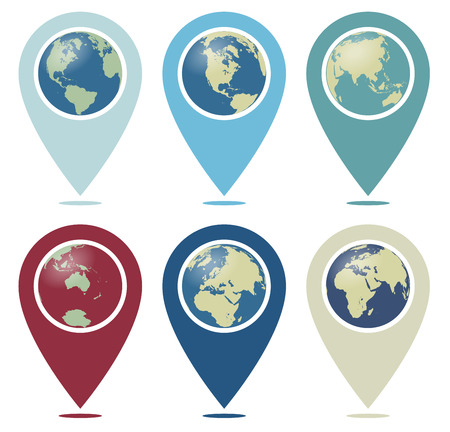 you: Retro Color World Pointer You are Here - Location Pointer with World Globe