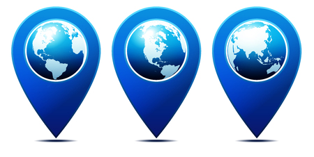 information point: World pointer You are Here - Location Pointer with World Globe