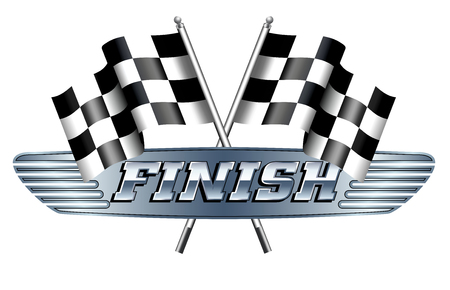 motor racing: Checkered, Chequered Flags Motor Racing FINISH Illustration