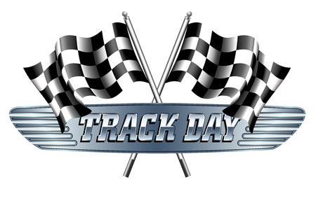 motor racing: TRACK DAY Checkered, Chequered Flags Motor Racing Illustration