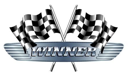 motor racing: WINNER Checkered, Chequered Flags Motor Racing