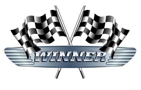 WINNER Checkered, Zielflaggen Motor Racing Standard-Bild - 57054658