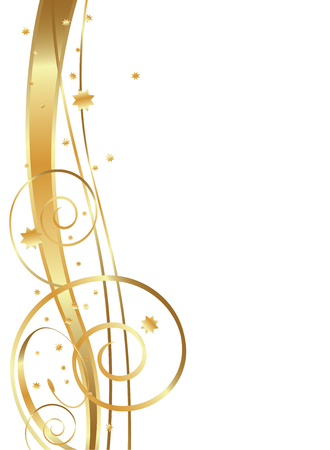 Gold Flowing Background, swirls, twirls and stars Ilustracja