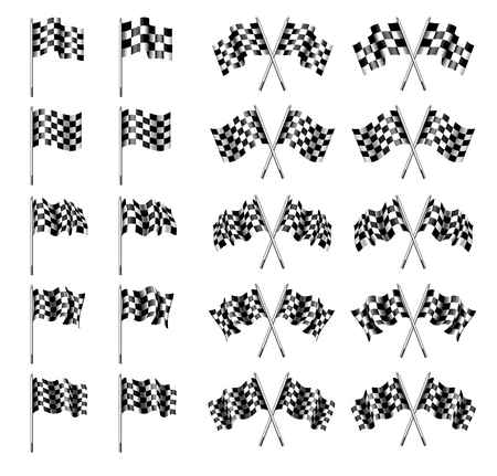 Bandiera a scacchi, Bandiere Chequered Motor Racing Vettoriali