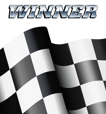 chequered flag: WINNER Checkered, Chequered Flag Motor Racing Illustration