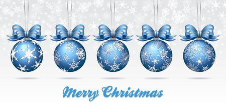 sky: Christmas Bauble Card on a Snowflake Background - Merry Christmas