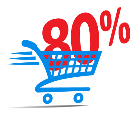 supermarket: Check Out Cart SALE Icon Symbol with 80 Percent