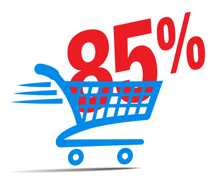 Check Out Cart SALE Icon Symbol with 85 Percent