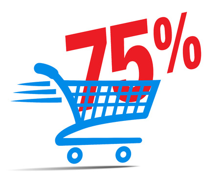 gift basket: Check Out Cart SALE Icon Symbol with 75 Percent
