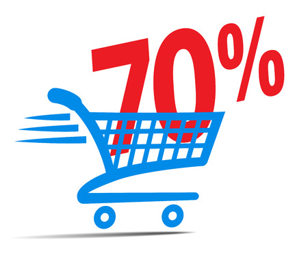 check symbol: Check Out Cart SALE Icon Symbol with 70 Percent