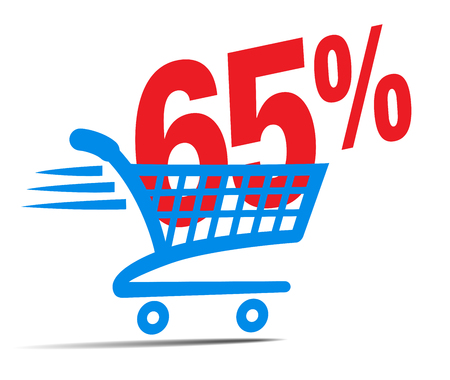 online: Check Out Cart SALE Icon Symbol with 65 Percent
