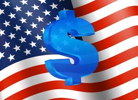 dollar symbol: Dollar symbol with American Flag and Dollar Icon