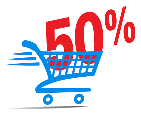 check symbol: Check Out Cart SALE Icon Symbol with 50 Percent