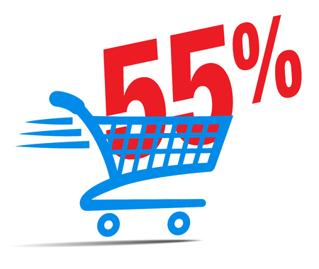 commerce: Check Out Cart SALE Icon Symbol with 55 Percent