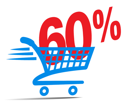 Check Out Cart SALE Icon Symbol with 60 Percent