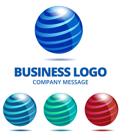 Dynamic Business Globe Logo in Four Colors