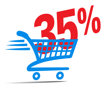 Check Out Cart SALE Icon Symbol with 35 Percent