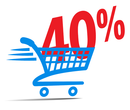 Check Out Cart SALE Icon Symbol with 40 Percent Illustration