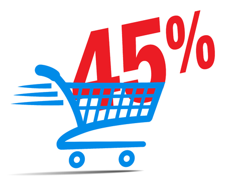 Check Out Cart SALE Icon Symbol with 45 Percent