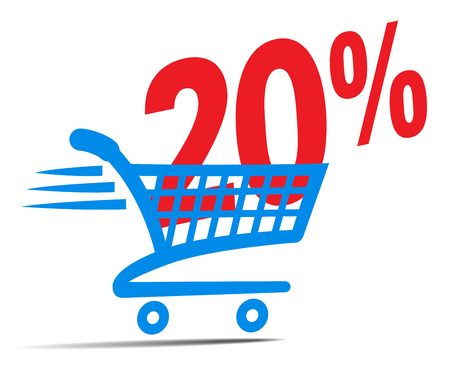 Check Out Cart SALE Icon Symbol with 20 Percent