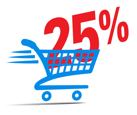 shopper: Check Out Cart SALE Icon Symbol with 25 Percent Illustration
