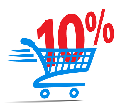 gift basket: Check Out Cart SALE Icon Symbol with 10 Percent