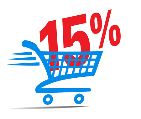online: Check Out Cart SALE Icon Symbol with 15 Percent Illustration
